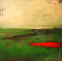 Gemälde, Grün, Beige, Malerei