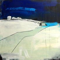Weiß, Beige, Blau, Landschaft