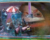 Ziegen, Portrait, Menschen, Schirm