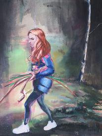 Mädchen, Holz, Wald, Malerei