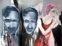 Kopf, Frau, Grinsen, Malerei
