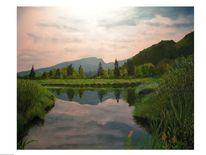 Wald, Ölmalerei, Wiese, Sommer