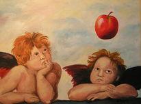 Engel, Apfel, Malerei,