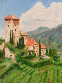 Schloss, Berge, Südtirol, Weinberg