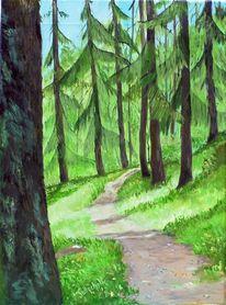 Wald lärchen weg, Malerei, Waldweg