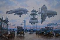 Luftschiff, Steampunk, Dampf, Turm