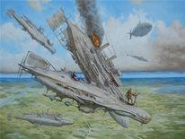 Landschaft, Luftschiff, Dampf, Steampubk