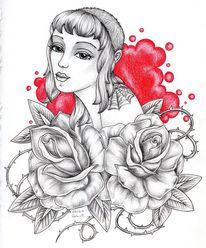 Bleistiftzeichnung, Portrait, Rose, Blumen
