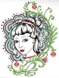 Kopf, Tattoo, Portrait, Frau