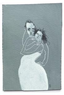 Beziehung, Umarmung, Paar, Mischtechnik