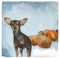 Hund, Obst, Erntedankfest, Aquarell