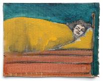 Schlaf, Frau, Bett, Mischtechnik