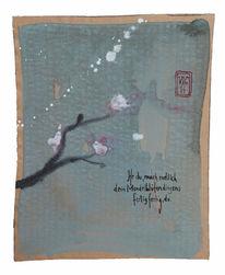 Chinesisch, Haiku, Mandelblüte, Zeichnungen