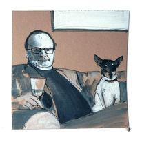 Hund, Mann, Sofa, Malerei
