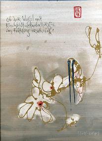 Kirschblüte, Frühling, Vogel, Haiku