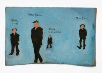Kohlezeichnung, Geld, Figur, Blau