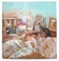 Entspannung, Schlafzimmer, Malerei, Rückzug