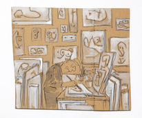 Konzentration, Raum, Atelier, Zeichnungen