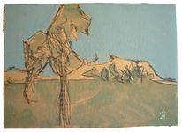 Berge, Skizze, Baum, Zeichnungen