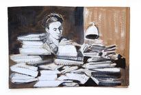 Literatur, Buch, Schreibtisch, Malerei