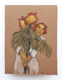 Sonne, Blumen, Frau, Zeichnungen