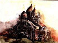 Kirche, Architektur, Aquarell