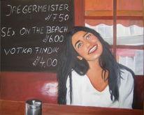 Ölmalerei, Frau, Bar, Malerei