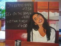 Frau, Ölmalerei, Bar, Malerei