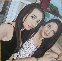 Ölmalerei, Frau, Kind, Portrait