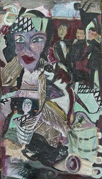 Türkis, Schwarz, Violett, Malerei