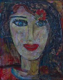 Kopf, Rote lippen, Schwarze haare, Mittelgroß