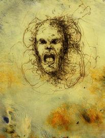 Erbarmungswürdig, Nullität, Bleistiftzeichnung, Acrylmalerei