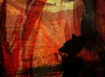 Acrylmalerei, Rot schwarz, Abstrakt, Grenze