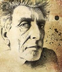 Federzeichnung, Frühstück, Portrait, Selbstportrait