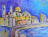 Aquarellmalerei, Cadiz, Cathedrale, Abstrakt