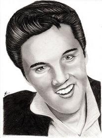 Kohlezeichnung, Portrait, Elvis presley, Bleistiftzeichnung