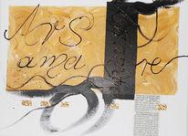 Schrift, Acrylmalerei, Collage, Liebe