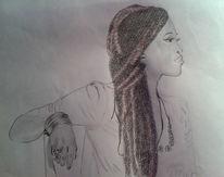 Sängerin, Bleistiftzeichnung, Buntstiftzeichnung, Portrait