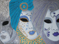Venedig, Karneval, Maskerade, Acrylmalerei