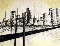 Acrylmalerei, Hochhaus, Schwarz weiß, Grafik
