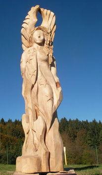 Kettensäge, Rickenbacker angel engel, Skulptur, Holz