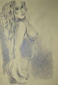 Grafik, Weiblich, Erotick, Zeichnung