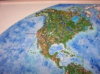 Welt, Relief, Acrylmalerei, Handarbeit
