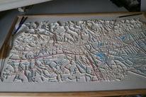 Landschaft, Landkarte, Berge, Acrylmalerei