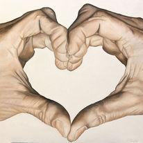 Hand, Herz, Finger, Malerei