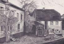 Geschichte, Bleistiftzeichnung, Altstadt, Schwarzweiß