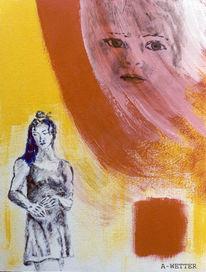 Kind, Traum, Schwangerschaft, Malerei