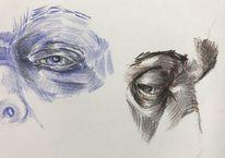 Studie, Gesicht, Augen, Zeichnung