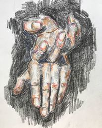 Studie, Grün, Zeichnung, Hände