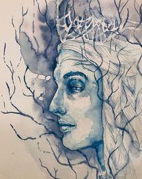 Gesicht, Zeichnung, Grafik, Monochrom